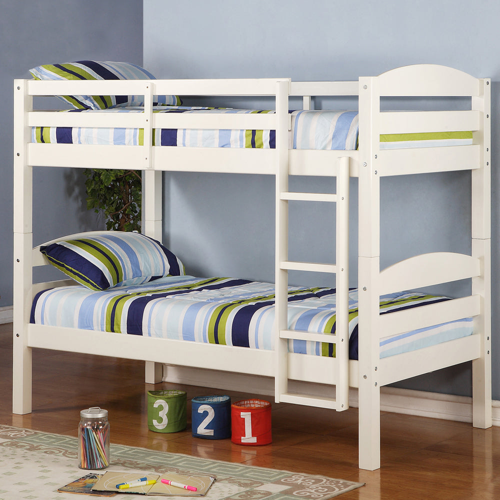 Walker Edison Solid Wood Twin over Twin Bunk Bed - White in Solid Wood BWSTOTWH 812492012894