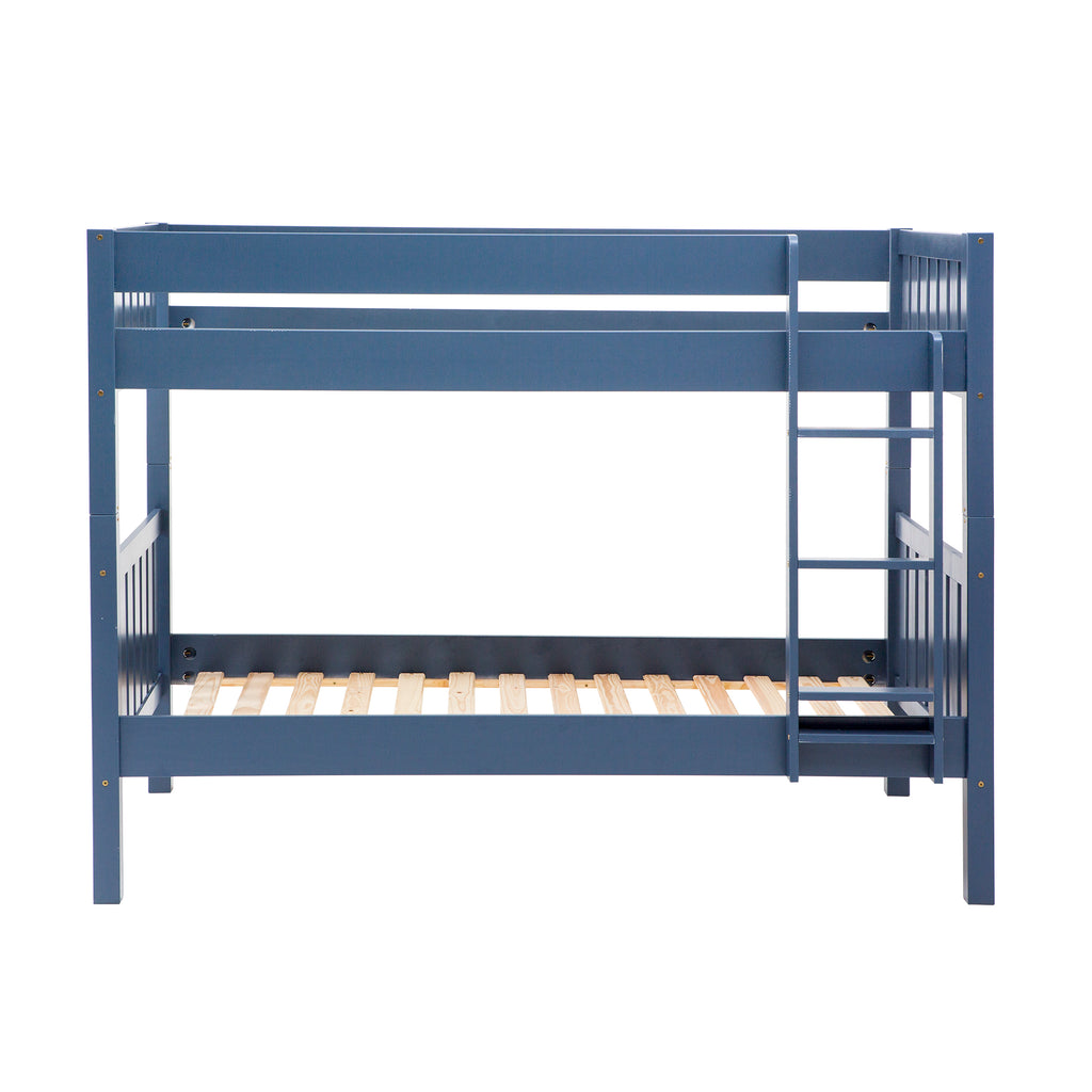 Walker Edison Solid Wood Twin Over Twin Bunk Bed - Navy in Solid Pine Wood BWTOTCOTBU 842158132307