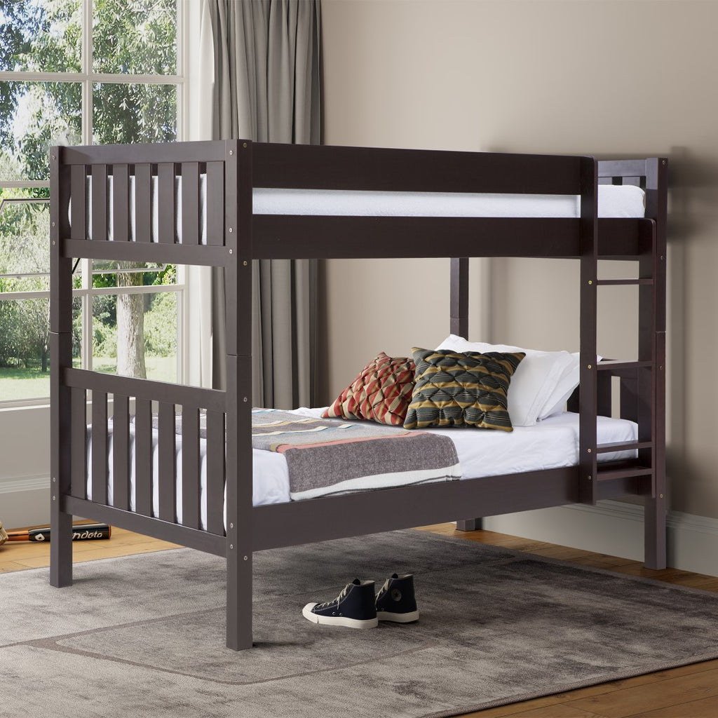 Walker Edison Solid Wood Twin Over Twin Bunk Bed - Espresso in Solid Pine Wood BWTOTCOTES 842158132314