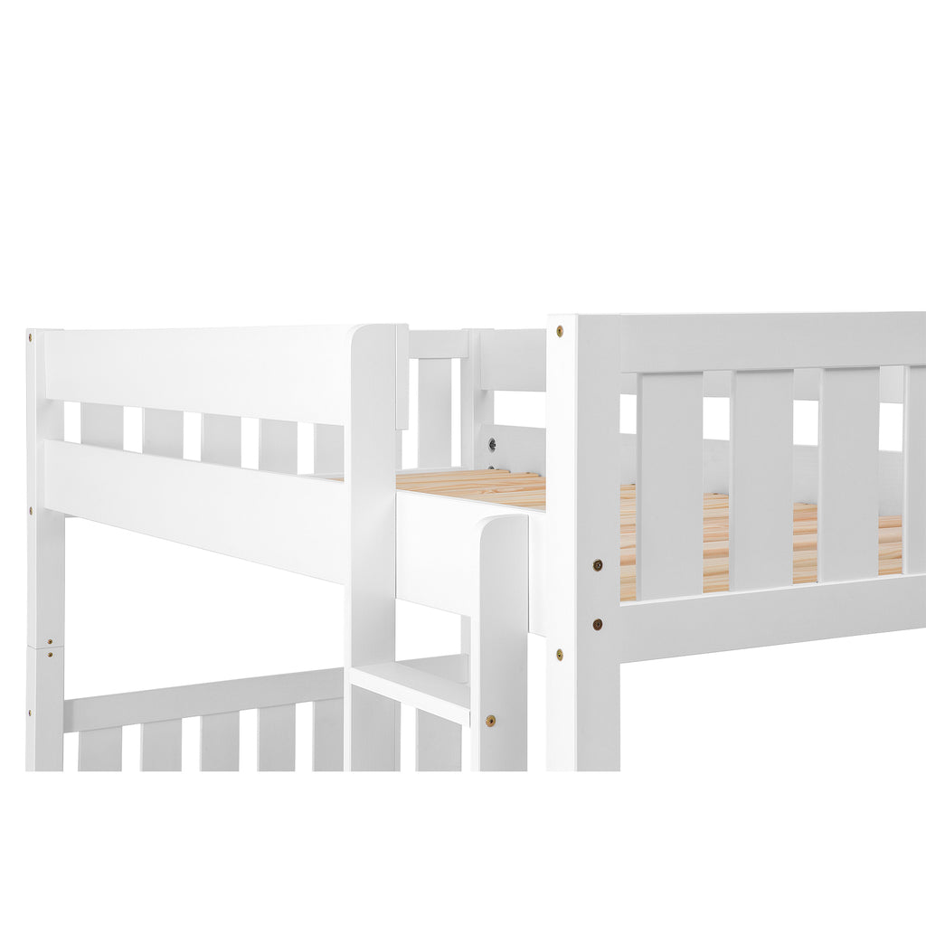 Walker Edison Solid Wood Twin Over Twin Bunk Bed - White in Solid Pine Wood BWTOTCOTWH 842158125149