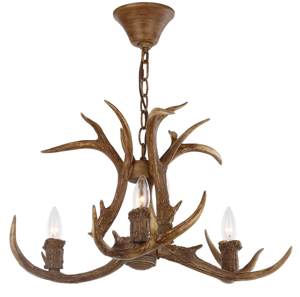 "Safavieh Makani Chandelier Antler 21.5"" Brown Resin Iron CHA4002A 889048324794"