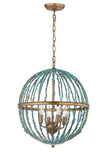 Safavieh Lalita Chandelier Cage Blue Gold Metal Glass CHA4008A 889048407572