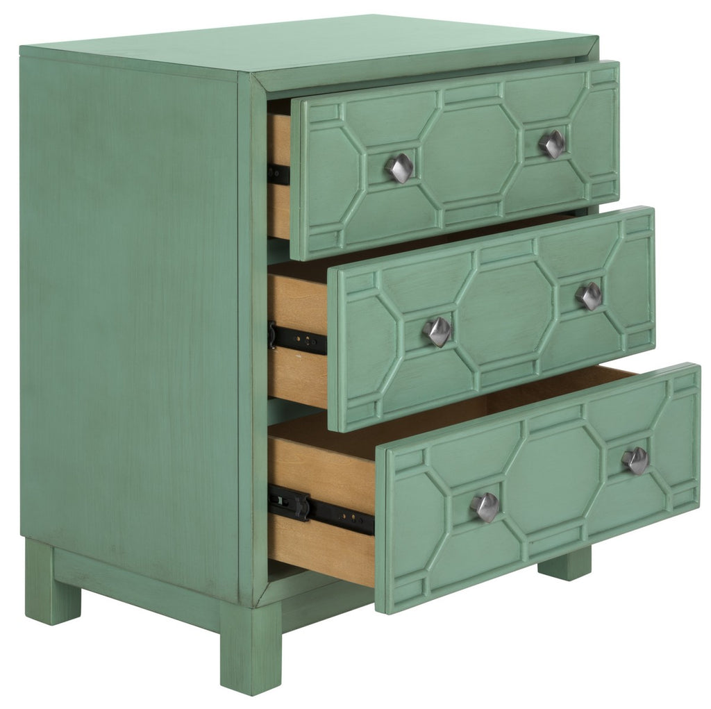 Safavieh Izumi Chest 3 Drawer Turquoise Painting Rubberwood CHS9201A 889048496675