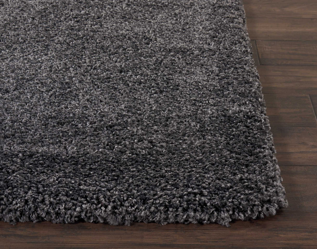 "Malibu Shag MSG01 Power Loomed 100% Polypropylene Dark Grey 6'7"" x Square Square Rug"