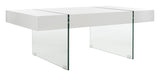 Safavieh Jacob Coffee Table Rectangular Leg Modern Glass White Wood Powder Coating MDF COF7001A 889048426894