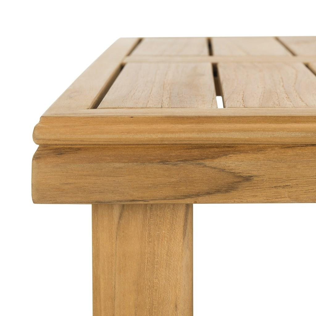 Safavieh Montford End Table Teak Natural Beige Wood Polyester Couture CPT1002A 889048396159