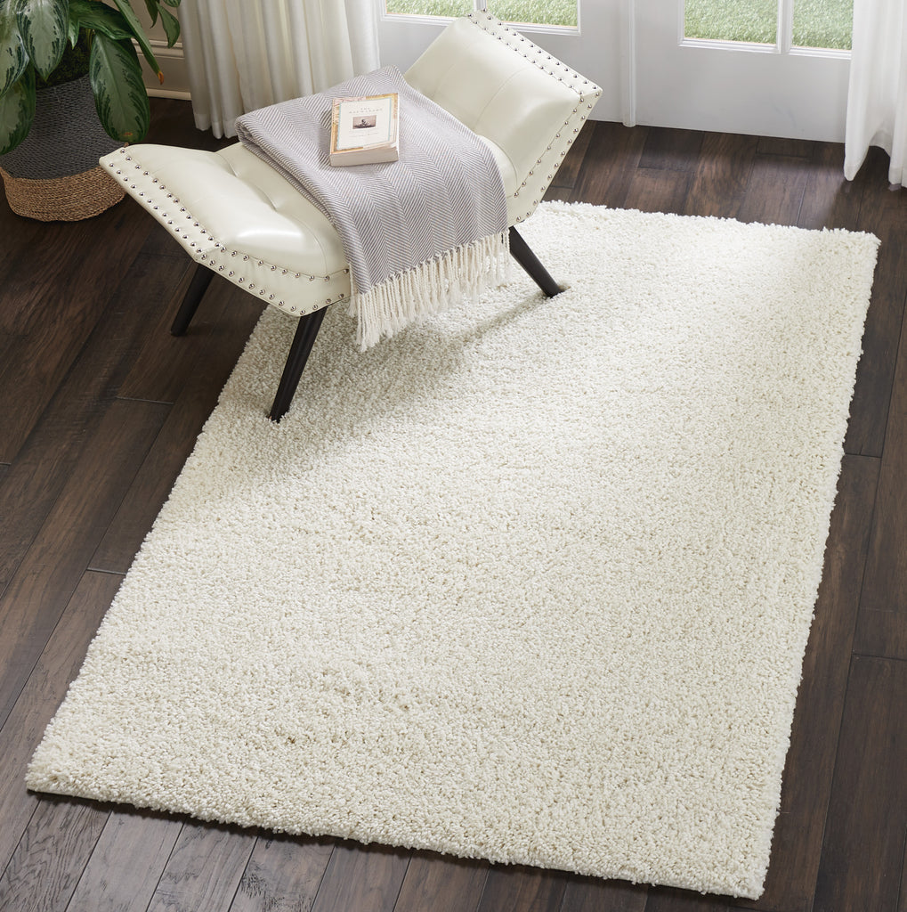 "Malibu Shag MSG01 Power Loomed 100% Polypropylene Ivory 3'11"" x 5'11"" Rectangle Rug"