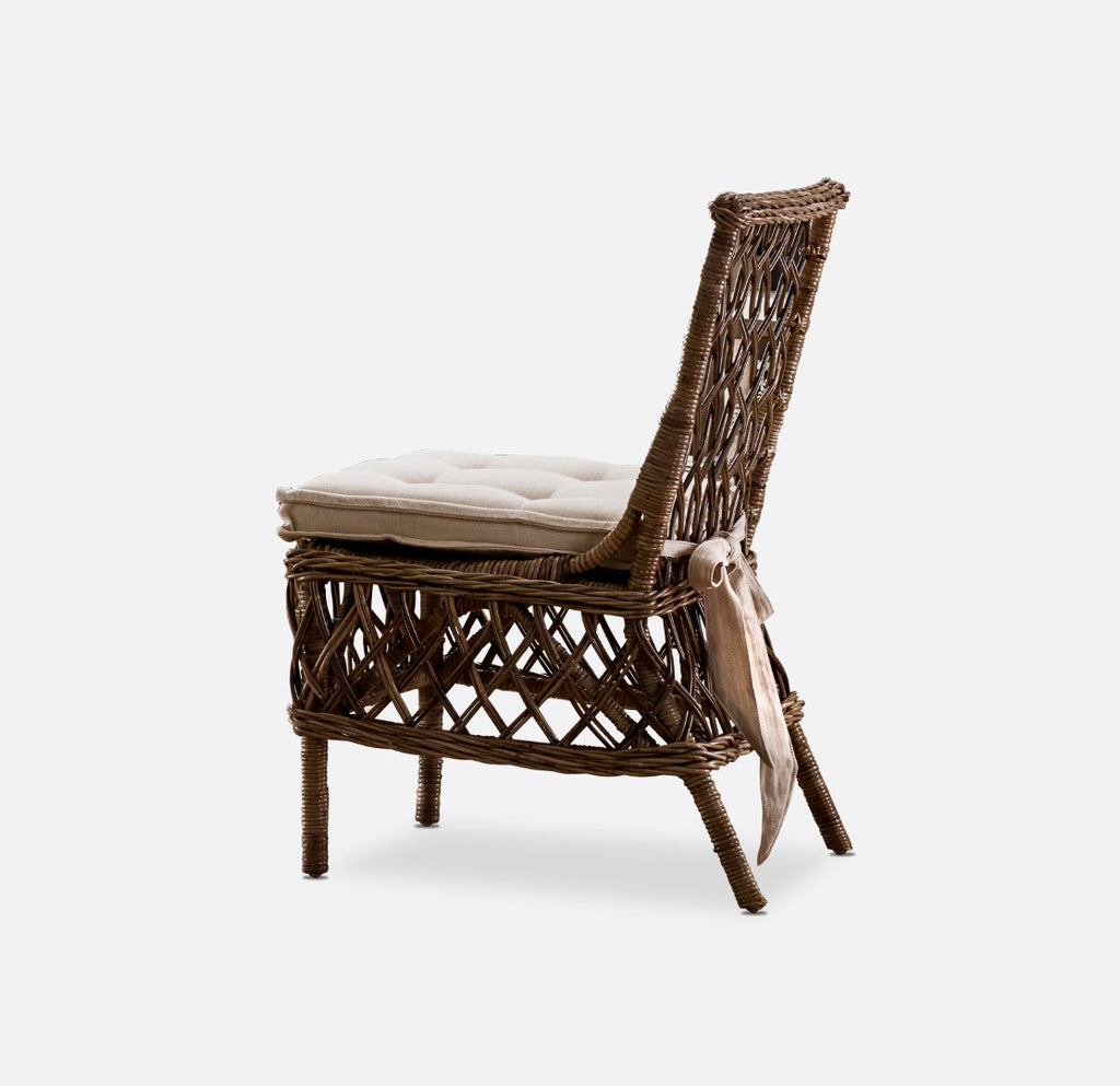 Wickerworks Aristocrate Side Chair in Natural Grey Kubu Rattan