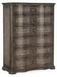Hooker Furniture Woodlands Traditional-Formal Six-Drawer Chest in Poplar and Hardwood Solids with Flat Cut Primavera and Quartered Oak Veneers, Cedar and Felt Panel 5820-90010-84