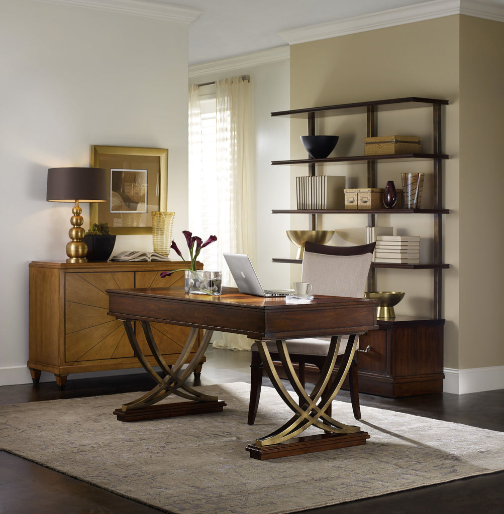 Hooker Furniture Palisade Transitional Bookcase in Hardwood Solids and Walnut Veneers with Metal 5183-10446
