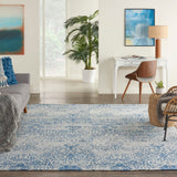 Damask DAS06 Power-loomed 83% Polyester, 14% Cotton, 3% Rayon Blue 8' x  10' Rectangle Rug