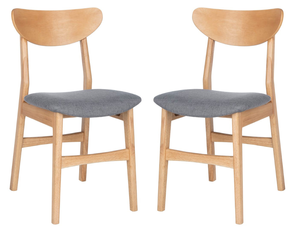 Safavieh - Set of 2 - Lucca Retro Dining Chair Natural / Grey Wood/Fabric DCH1001B-SET2 889048654891