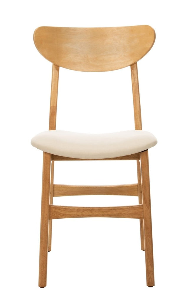 Safavieh - Set of 2 - Lucca Retro Dining Chair Natural White Wood DCH1001C-SET2