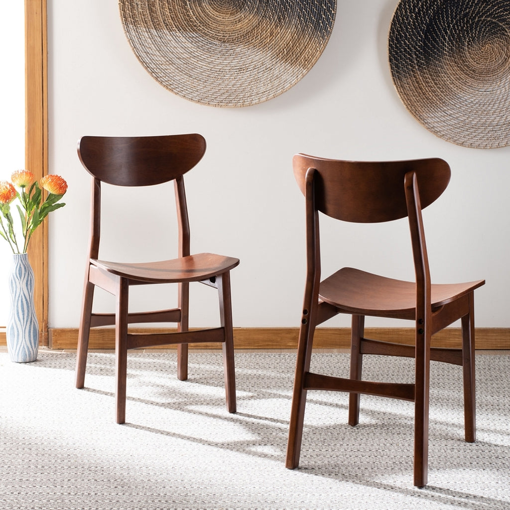 Safavieh - Set of 2 - Lucca Retro Dining Chair Cherry Wood DCH1001D-SET2