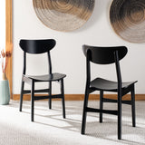 Safavieh - Set of 2 - Lucca Retro Dining Chair Black Wood DCH1001G-SET2