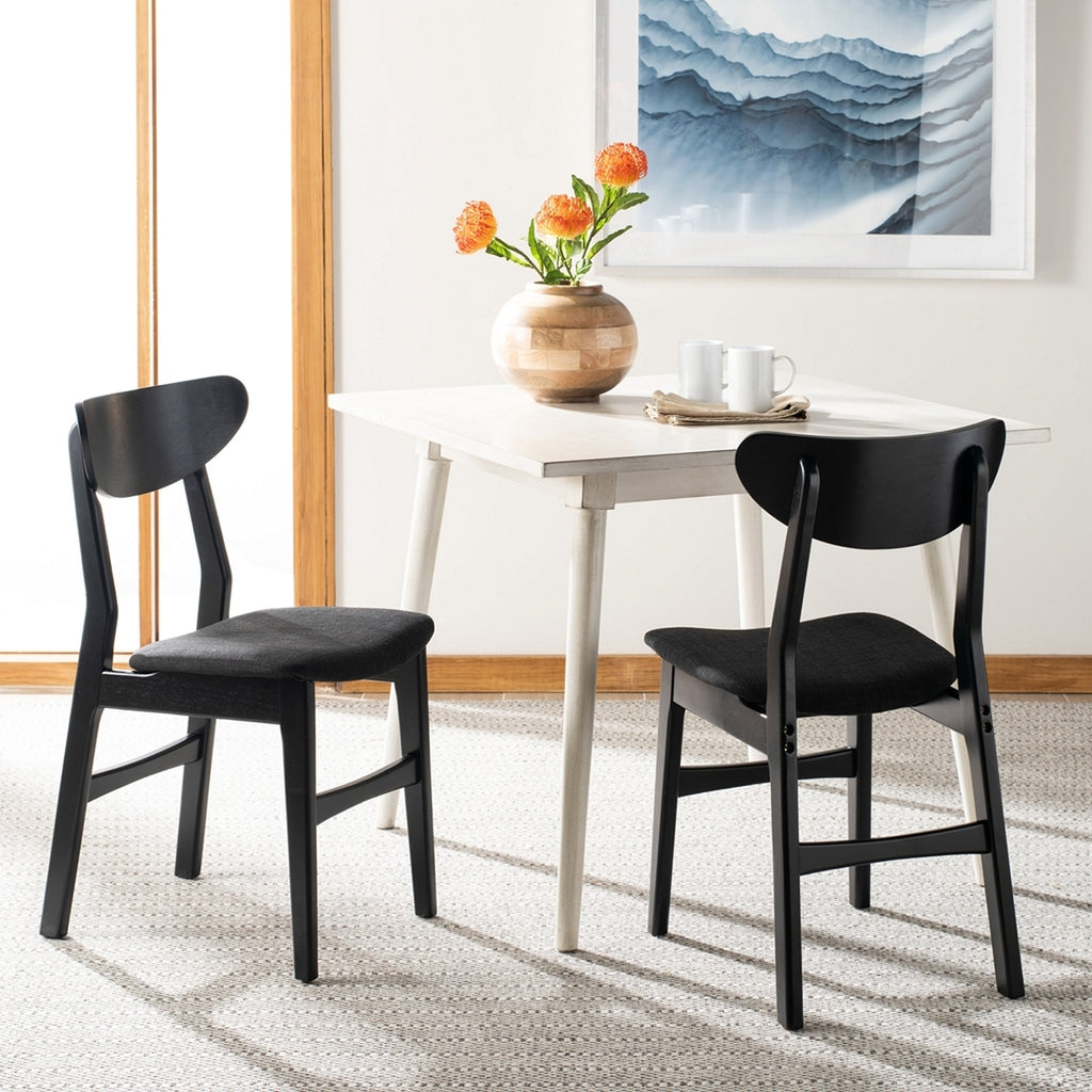 Safavieh - Set of 2 - Lucca Retro Dining Chair Black Black Wood DCH1001J-SET2