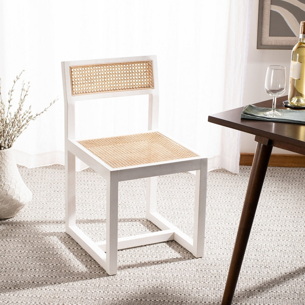 Safavieh Bernice Cane Dining Chair White Natural Wood DCH9502A