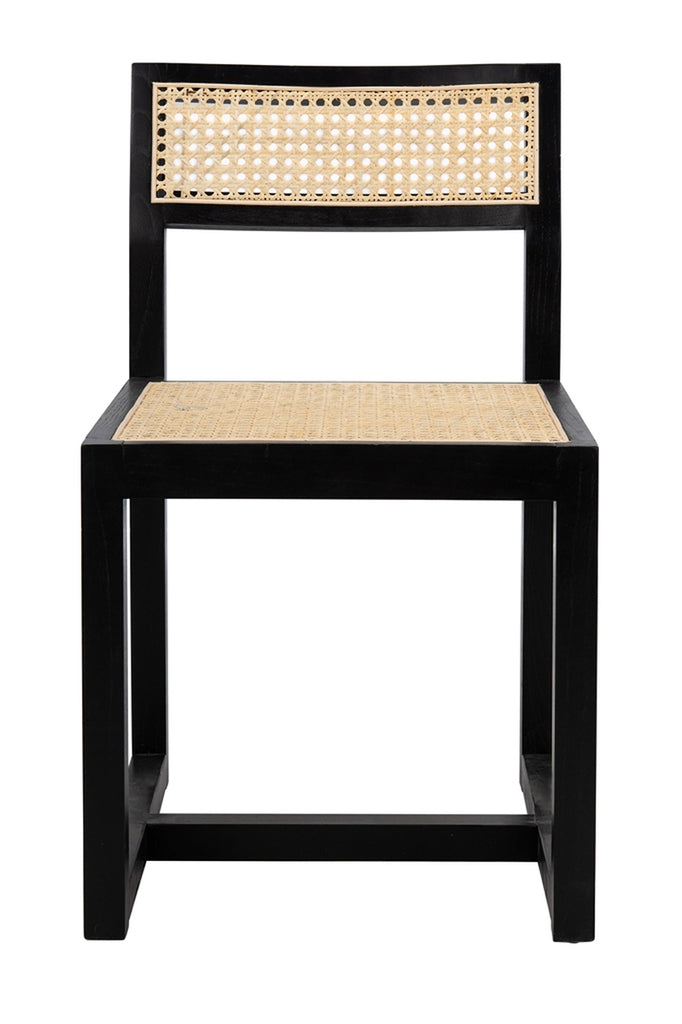 Safavieh Bernice Cane Dining Chair Black Natural Wood DCH9502B