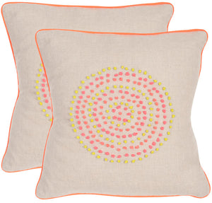 "Safavieh - Set of 2 - Love Knots Pillow Embroidered Linen 20"" Neon Rainbow Button Closure Feather DEC312A-2020-SET2 889048002852"