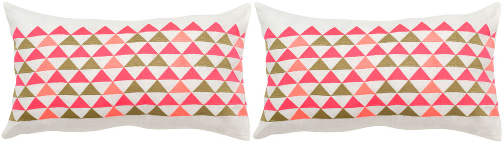 "Safavieh - Set of 2 - Geo Mountain Pillow Embroidered Linen 20"" Wild Flower Multi Hidden Zipper Feather DEC314B-2020-SET2 889048002883"