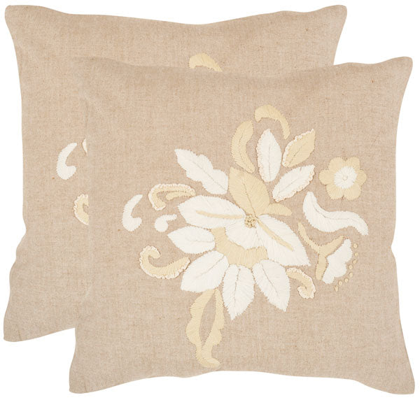 "Safavieh - Set of 2 - June Pillow Embroidered Cotton 22"" Beige Chambray Hidden Zipper Feather DEC604A-2222-SET2 683726320463"