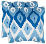 "Safavieh - Set of 2 - Lexi Pillow Embroidered Cotton 20"" Indigo Poplin Hidden Zipper Feather DEC612A-2020-SET2 683726321156"
