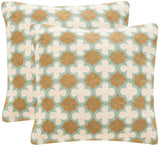 "Safavieh - Set of 2 - Carna Pillow Chainstitch 20"" Amist Green Wool Cotton Hidden Zipper Feather DEC912A-2020-SET2 683726962441"