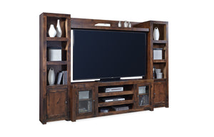 "Lifestyle Contemporary Tobacco Alder and Poplar Solids - Alder, Birch and Okume Veneer 72"" Console with Doors"