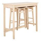 Safavieh Colbie 3 Piece Pub Set White Oak Wood DNS1000A 889048635289