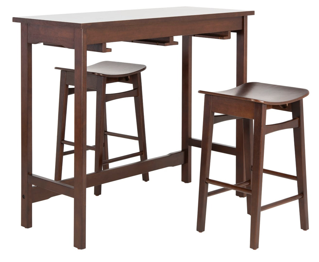 Safavieh Colbie 3 Piece Pub Set Espresso Wood DNS1000B 889048635296
