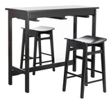Safavieh Colbie 3 Piece Pub Set Black Wood DNS1000C 889048635302