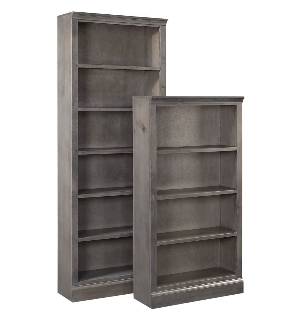 "Churchill Transitional Smokey Grey Knotty Alder - Knotty Alder and Maple Veneer 84"" Bookcase with 5 Fixed Shelves"