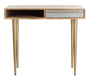 Safavieh Leni Desk in Natural and Brass DSK9003A 889048721234