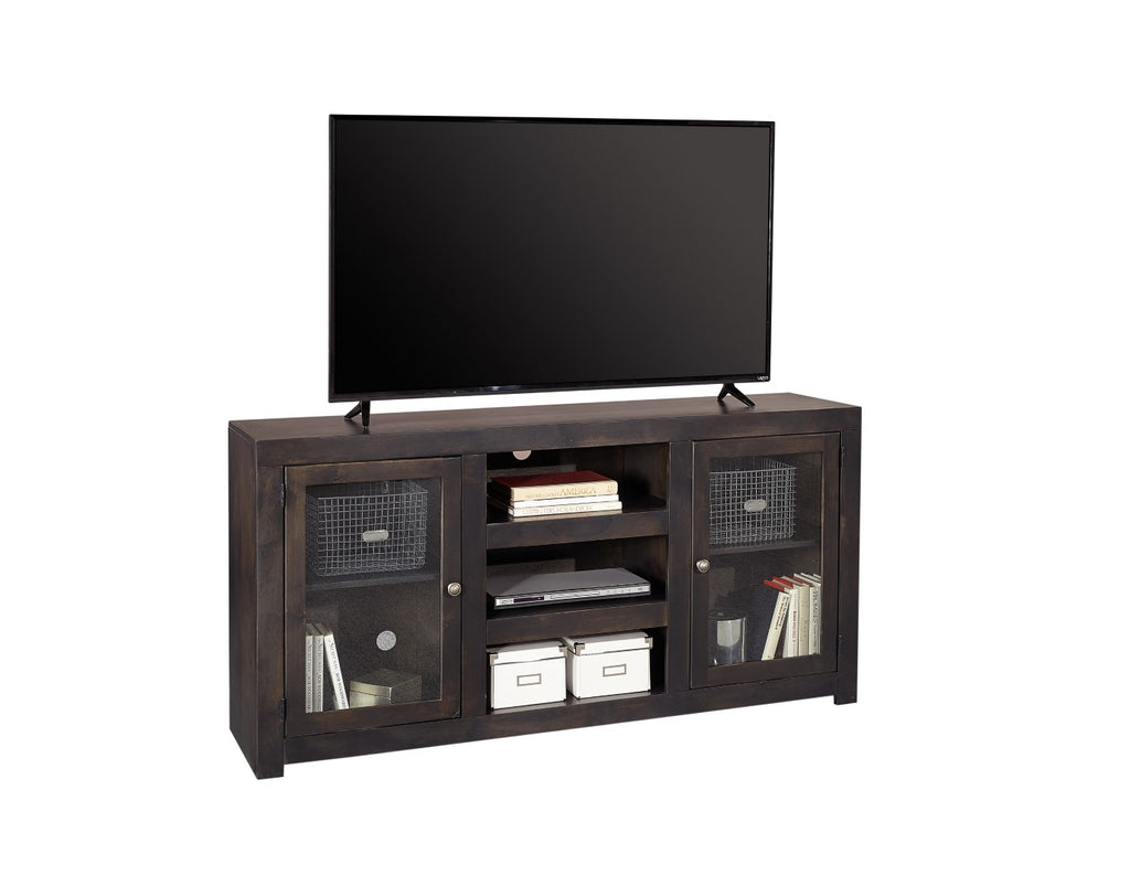 "Avery Loft Contemporary Ghost Knotty Alder - Knotty Alder Veneer 65"" Console with 2 Doors"