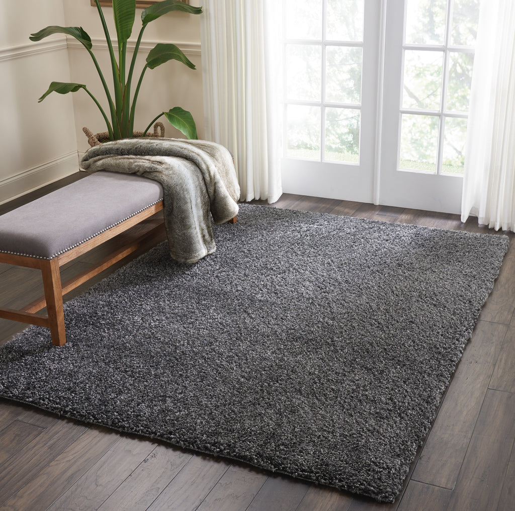 "Malibu Shag MSG01 Power Loomed 100% Polypropylene Dark Grey 5'3"" x 7'3"" Rectangle Rug"
