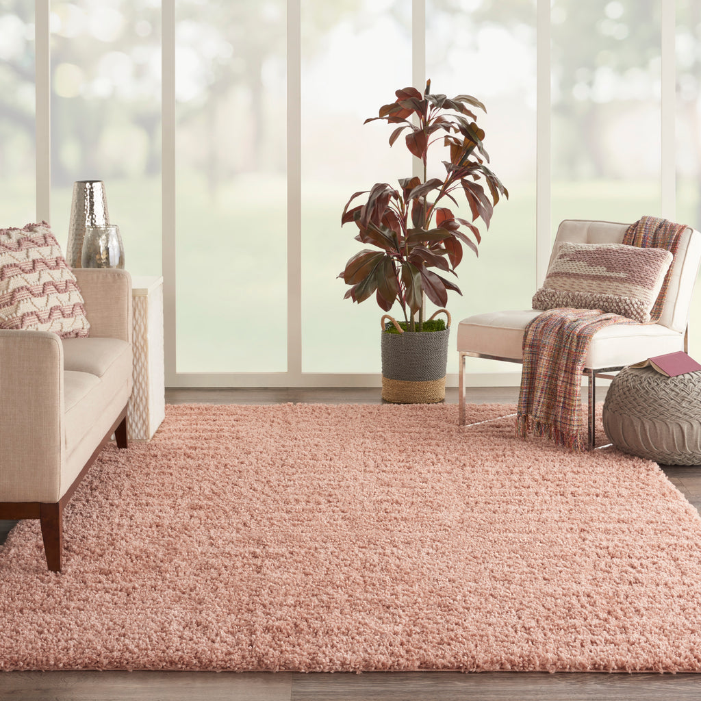 Malibu Shag MSG01 Power-loomed 100% Polypropylene Blush 6' x 9' Rectangle Rug