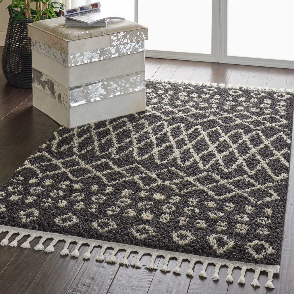 "Moroccan Shag MRS02 Power Loomed 100% Polypropylene Charcoal 5'3"" x 7'11"" Rectangle Rug"