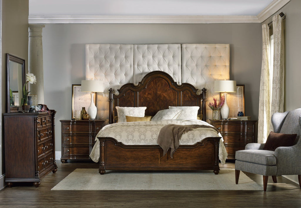 Hooker Furniture Leesburg Traditional-Formal King Poster Bed in Rubberwood Solids and Mahogany Veneers with Resin 5381-90666