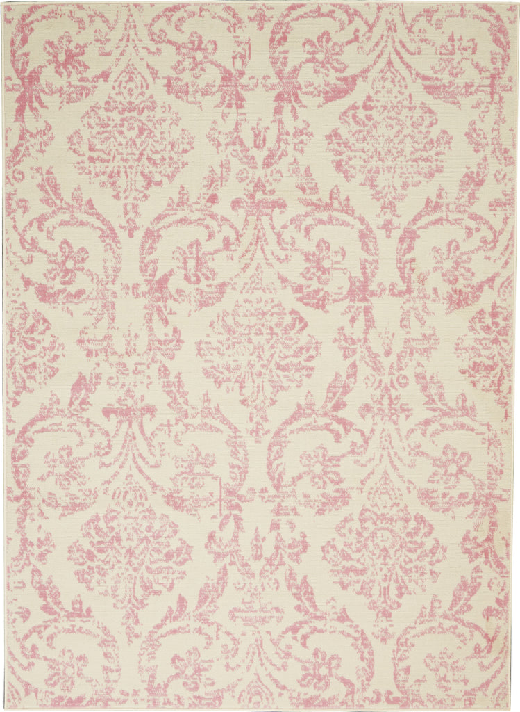 Jubilant JUB09 Power Loomed 100% Polypropylene Ivory/Pink 4' x 6' Rectangle Rug