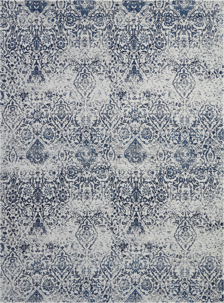 Damask DAS06 Power Loomed 83% Polyester, 14% Cotton, 3% Rayon Ivory/Navy 9' x 12' Rectangle Rug