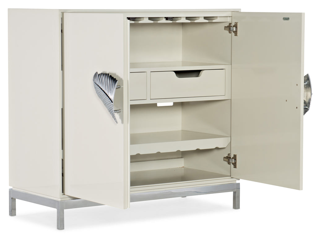 Hooker Furniture Melange Transitional Dont Leaf Me Cabinet in Hardwood Solids, Lacqured Finish with Stainless Steel 638-85503-02