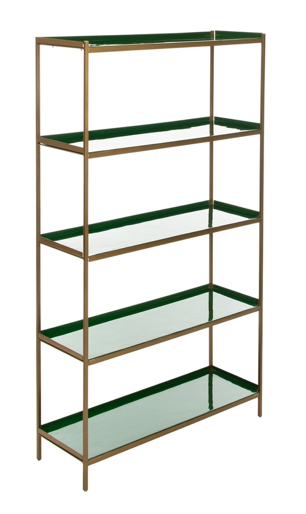 Safavieh Justine 5 Tier Etagere Green Brass Metal ETG3201B