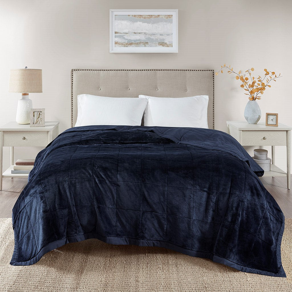 Madison Park Coleman Casual 100% Polyester Reversible Plush To Microfiber Da Blanket MP51-6382