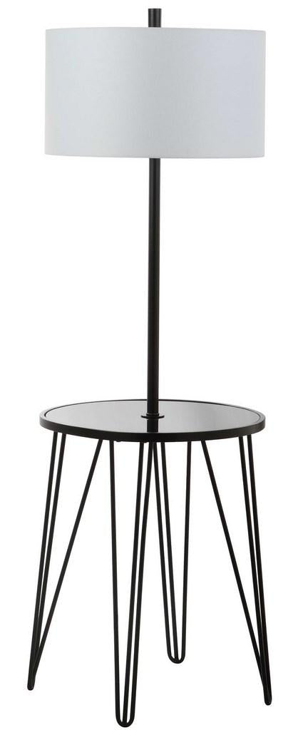 "Safavieh Ciro Floor Lamp Side Table 58"" Black Off White Gold Cotton Metal Glass FLL4010A 889048324923"