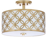 "Safavieh Cecily Flush Mount Leaf Trellis 3 Light 15"" Gold Off White Cotton Metal Fabric Acylic FLU4003A 889048256040"