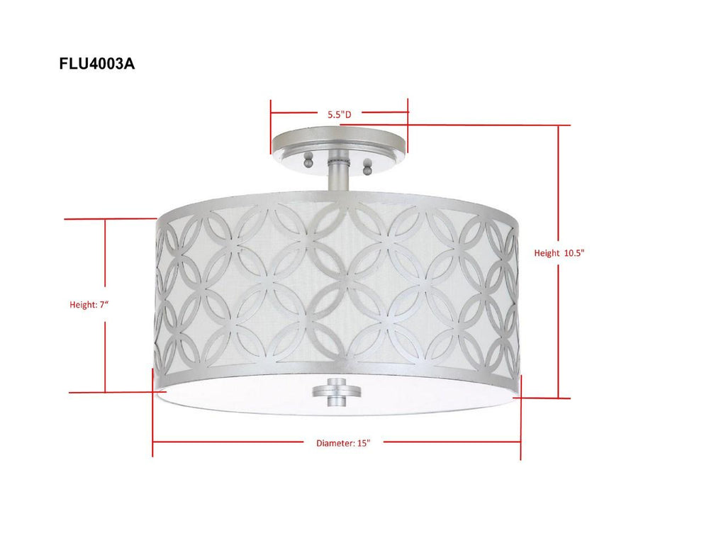 "Safavieh Cecily Flush Mount Leaf Trellis 3 Light 15"" Silver Off White Cotton Metal Fabric Acylic FLU4003B 889048273023"