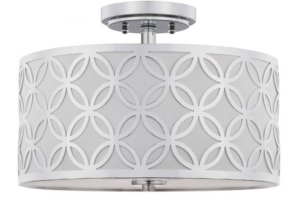 "Safavieh Cecily Flush Mount Leaf Trellis 3 Light 15"" Chrome Off White Cotton Metal Fabric Acylic FLU4003C 889048395565"