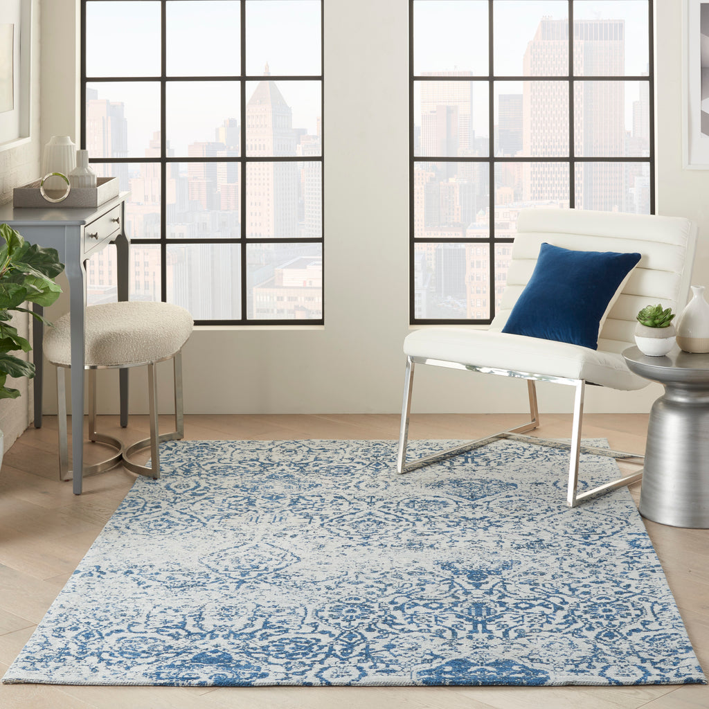 Damask DAS06 Power-loomed 83% Polyester, 14% Cotton, 3% Rayon Blue 6' x 9' Rectangle Rug