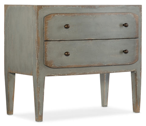 Hooker Furniture CiaoBella Casual Ciao Bella Two-Drawer Nightstand- Speckled Gray in Poplar and Hardwood Solids with Maple Veneer, Cedar and Felt Panel 5805-90016-95
