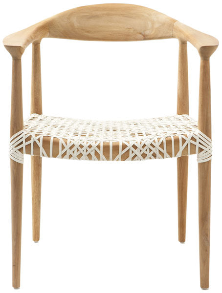 Safavieh Bandelier Arm Chair Light Oak Off White Wood Reclaimed Teak 7 MM Cowhide Leather FOX1003A 683726362654
